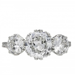 Old cut diamond three stone ring, circa 1915.