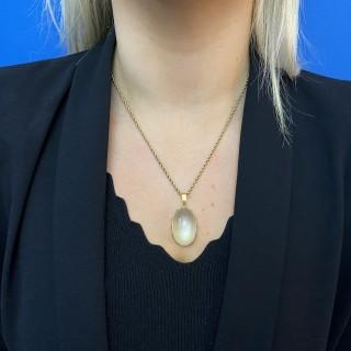 Solitaire moonstone pendant, French, circa 1970.