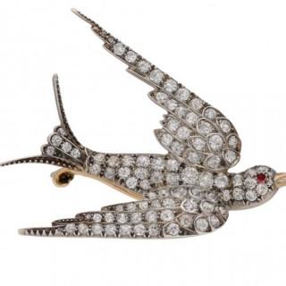 Victorian diamond swallow brooch, English, circa 1890.