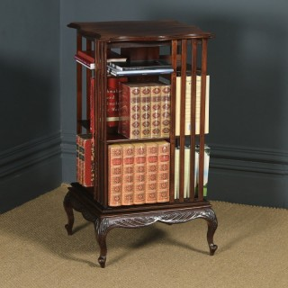 Antique English Edwardian Mahogany Revolving Bookcase Shelf Stand Table (Circa 1910)