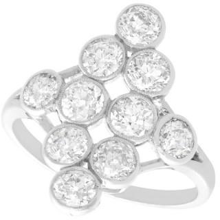 2.92ct Diamond and Platinum Marquise Ring - Antique French Circa 1920