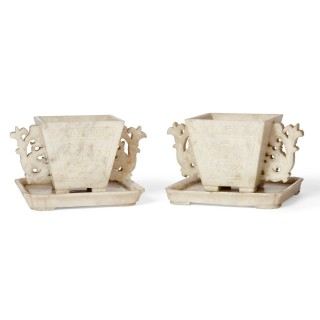 Pair of traditional Chinese soapstone cups