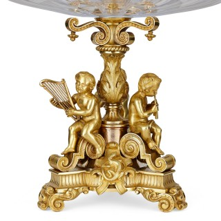 Pair of French gilt bronze and cut glass tiered centrepieces