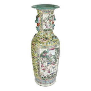 Pair of large Canton style Chinese porcelain vases