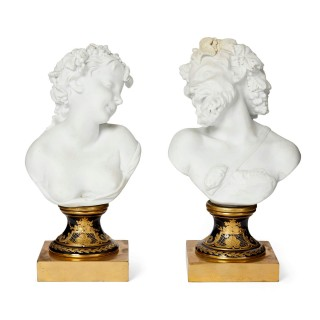 Pair of Bacchanal bisque porcelain busts in the style of Sèvres