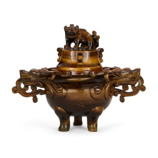 Traditional Chinese vase carved from tiger's eye