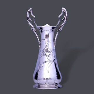A large and exceptional art nouveau Latino Movio silver vase