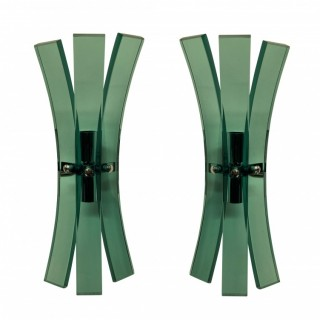 A PAIR OF GREEN GLASS VECA WALL SCONCES