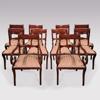 A set of 10 Regency period mahogany dining chairs