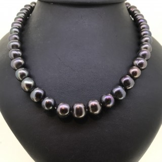 Chinese  11mm Black Pearl Necklace