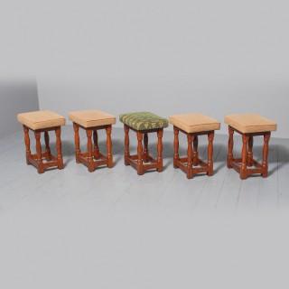 Set of 5 Oak Stools by David 'Oakleafman' Langstaff