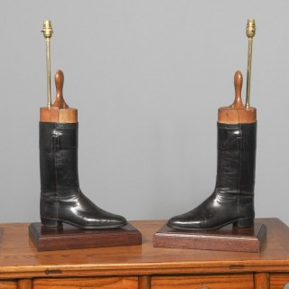 Pair of Leather Riding Boots Lamps