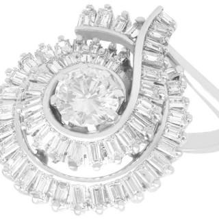 3.08 ct Diamond and Platinum Dress Ring - Art Deco - Vintage Circa 1950