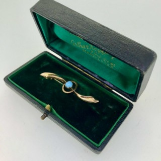 Turquoise and Gold Brooch