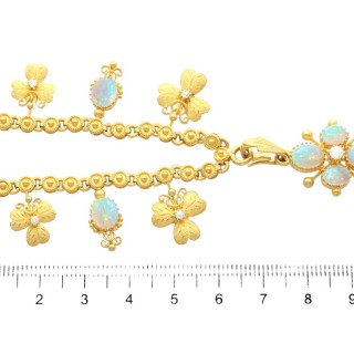 3.45ct Opal and 0.27ct Diamond, 22ct Yellow Gold Necklace - Antique Circa 1890