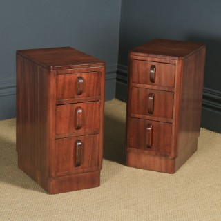 Antique Pair of English Art Deco Mahogany Bedside Cabinet Chests Tables Nightstands (Circa 1935)