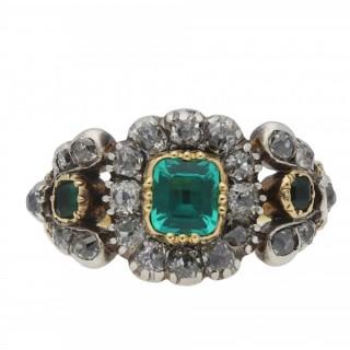 Georgian emerald and diamond cluster ring, circa 1800.