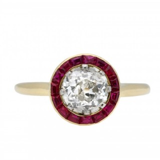 Belle Époque ruby and diamond target ring, French, circa 1910.