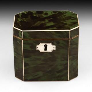Antique Green Tortoiseshell Tea Caddy