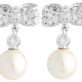 0.36ct Diamond and Pearl, 18ct White Gold Drop Earrings - Vintage Circa 1940