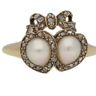 Antique double heart pearl and diamond cluster ring, circa 1870.