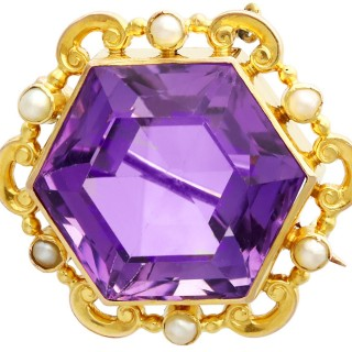 12.50ct Amethyst and Seed Pearl, 15ct Yellow Gold Brooch - Antique Circa 1890