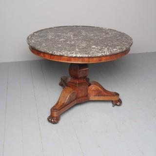 French Marble Top Gueridon Circular Centre Table