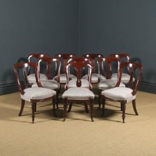 Antique English Victorian Set of Ten 10 Mahogany Bow Back Dining Chairs (Circa 1880)