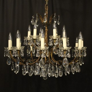 Italian 18 Light Gilded Brass Antique Chandelier
