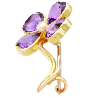 4.25ct Amethyst and Pearl, 15 ct Yellow Gold Four-Leaf Clover Brooch - Antique Circa 1880