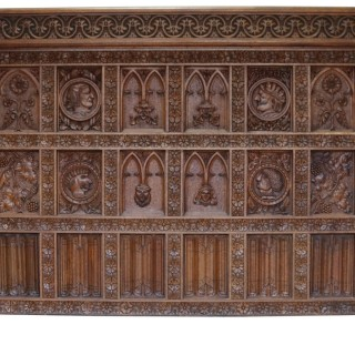 Antique English Carved Oak Wall Panelling