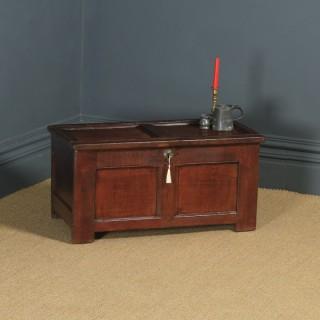 Small Antique English 18th Century Georgian Oak Coffer Chest Blanket Box Trunk (Circa 1720)