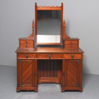 Victorian Gothic Revival Walnut Dressing Table