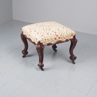 Victorian Carved Mahogany and Upholstered Stool