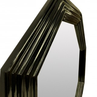 A PAIR OF LARGE OCTAGONAL BLACK LACQUERED MIRRORS