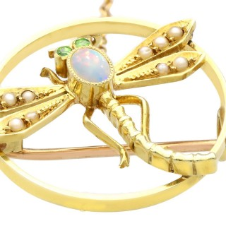 0.20ct Opal and Pearl, Peridot and 15ct Yellow Gold Dragonfly Brooch - Antique Circa 1895