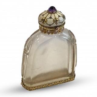Fine Rock Crystal gold and enamel scent bottle