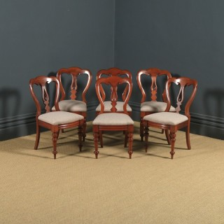 Antique English Victorian Set of Six Mahogany Balloon Spear Back Dining Chairs (Circa 1870)