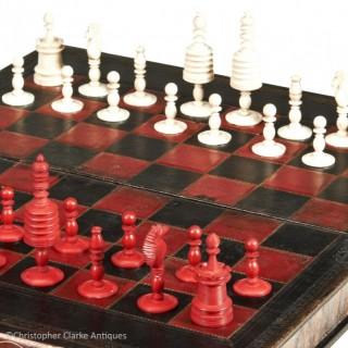 Large Leather Backgammon & Chess Set