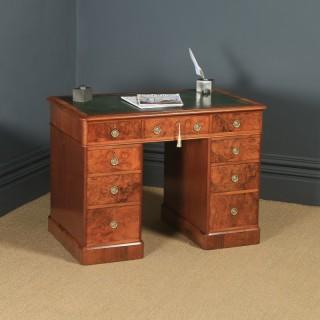 "Small Antique English Victorian 3ft 3"" Burr Walnut & Leather Pedestal Office Desk (Circa 1860)"