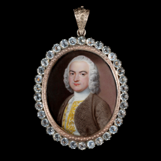 Jean André Rouquet, 'Portrait enamel of a Gentleman, wearing brown coat over white waistcoat embroidered with gold thread, powdered wig' c.1740