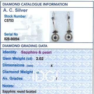 2.02ct Sapphire and Seed Pearl, 15ct Yellow Gold Drop Earrings - Antique Circa 1910