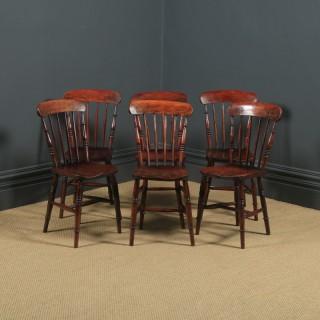 Antique English Victorian Set of Six 6 Ash & Elm Windsor Bar & Stick Back Kitchen Chairs (Circa 1890)