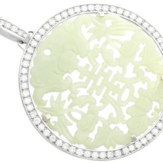 Carved Jade and 5.86ct Diamond, 18ct White Gold Pendant - Vintage Circa 1950