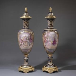 A Pair of Exhibition Quality  Sèvres- Style Porcelain Vases