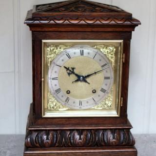 Solid Carved Oak Bracket Clock