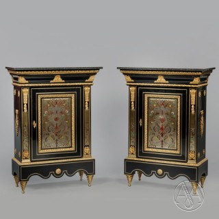 A Fine Pair of Napoleon III Boulle Marquetry Cabinets