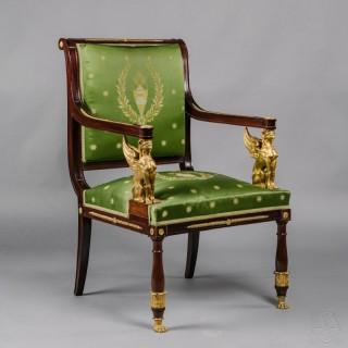 An Empire Revival Mahogany Desk Chair