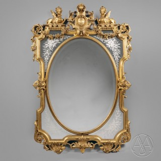 A Louis XIV Style Carved Giltwood Marginal Frame Mirror
