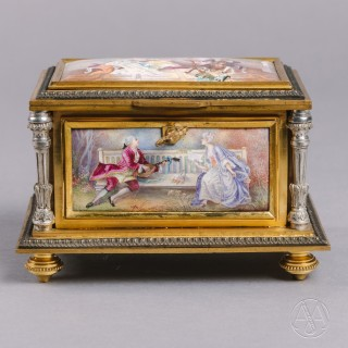 A Sèvres Style Porcelain Mounted Jewellery Box